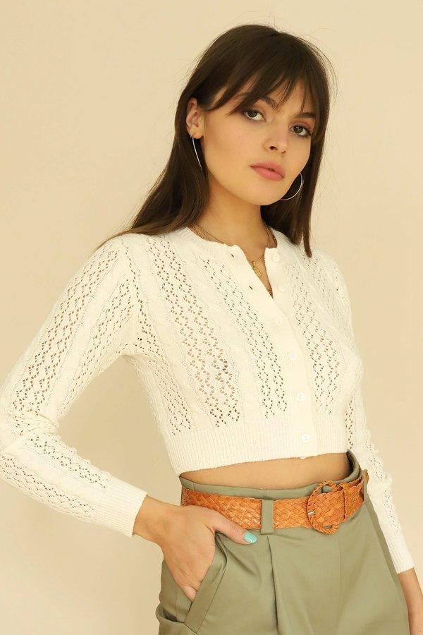 Cotton Candy LA Open Knit Cropped Cardigan - White