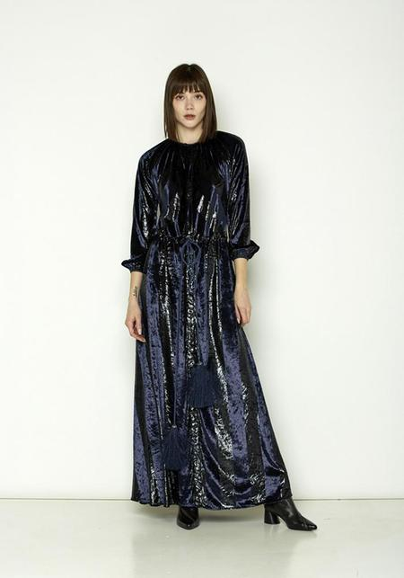 Love Binetti Tie-Waist Maxi Dress - Navy