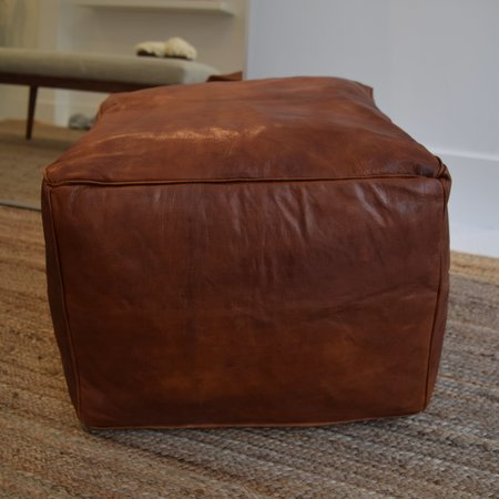 Ariana Bohling Moroccan Pouf - Cognac Leather