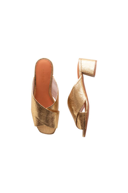 Nelson Made TESS SANDAL - Gold Crinkle Leather