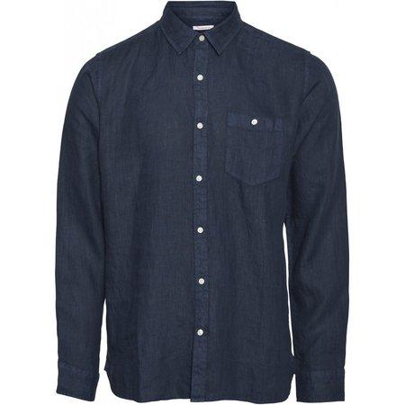 knowledge cotton apparel Linen long sleeve shirt vegan - navy