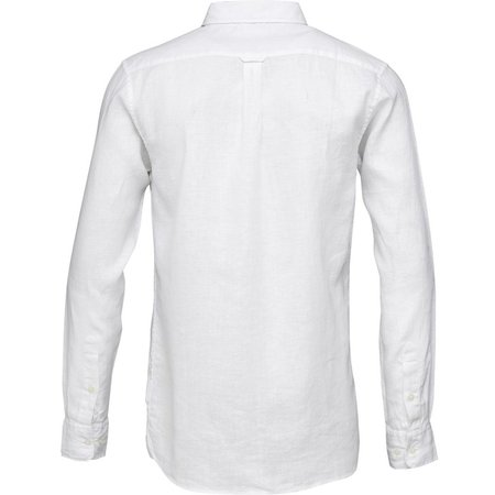 knowledge cotton apparel Linen long sleeve shirt vegan - white