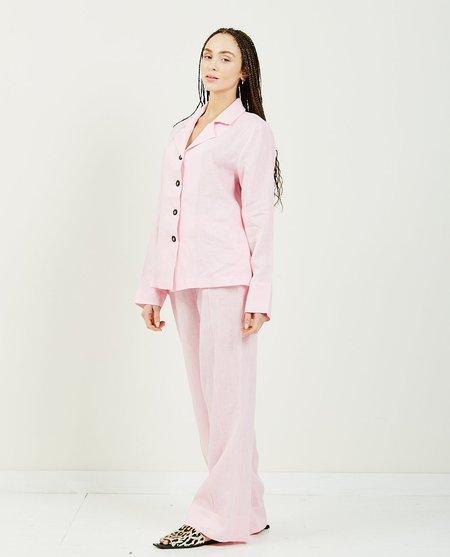 Sleeper Bubble Gum Linen Pajama Set - Pink