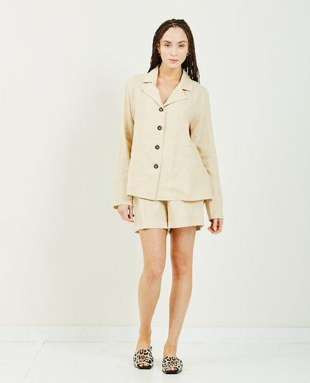 Sleeper Cream Linen Pajama Set With Short - BEIGE