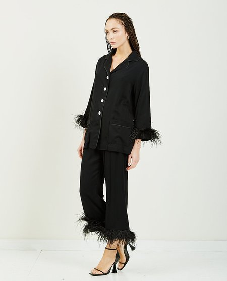 Sleeper Party Pajama Set With Feathers - Black