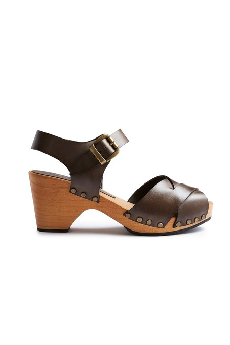 Lisa B. leather cross over clogs - dark taupe