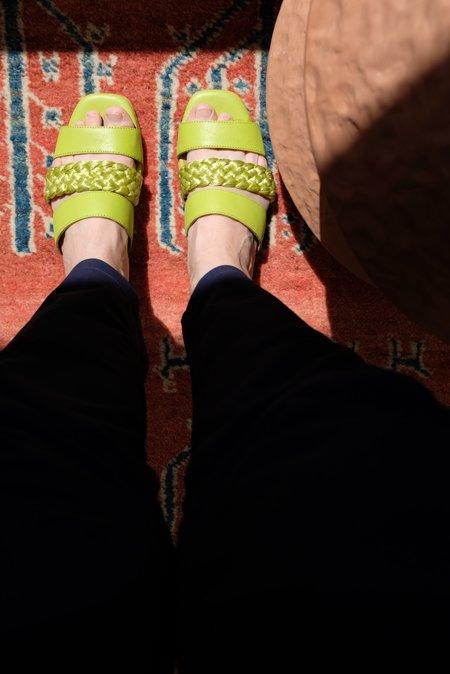 Beklina Braided Flat Sandals - Lime