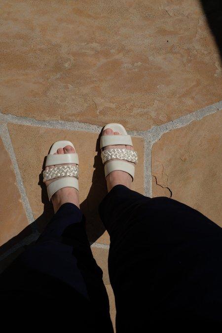Beklina Braided Flat Sandals - Off White