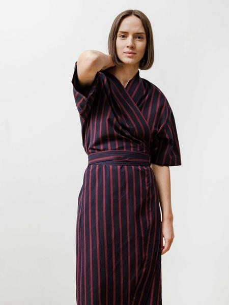 Priory Uto Wrap Dress - stripe
