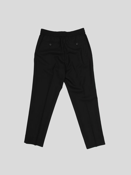 AMI Elasticized Waist Cropped Fit Trousers - black