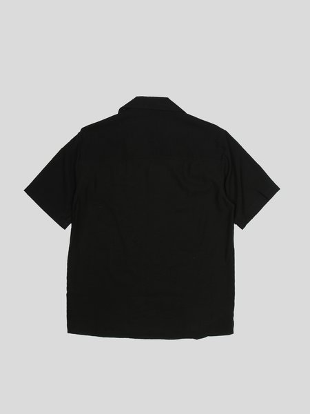 Ami de Coeur Embroidery Camp Collar Short Sleeve Shirt - black