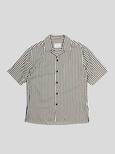 AMI Camp Collar Short Sleeve Shirt with Chest Pocket - Off White/Black