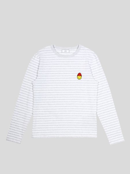 AMI Long Sleeve Striped Tee with Smiley Patch - Grey/White