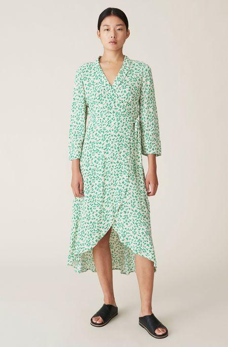 Ganni Printed Crepe Wrap Dress - Tapioca