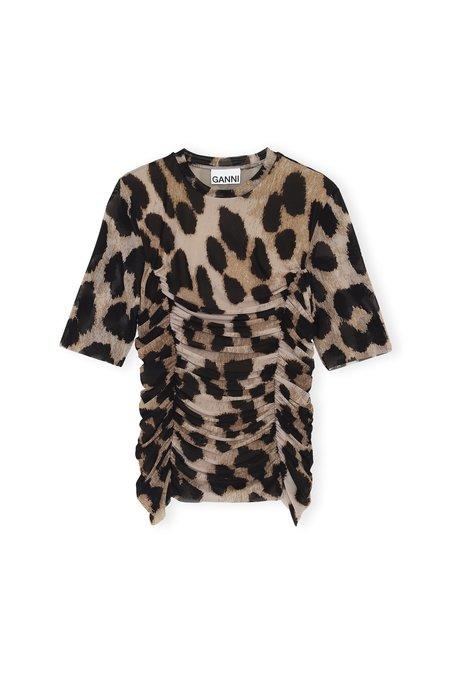 Ganni Printed Mesh Top - Maxi Leopard