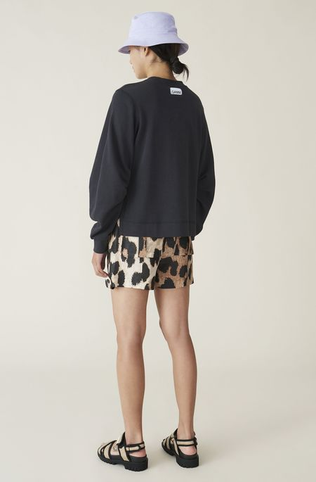 Ganni Silk Linen Shorts - Maxi Leopard
