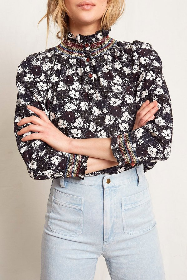 Warm Ines Blouse - Navy Floral