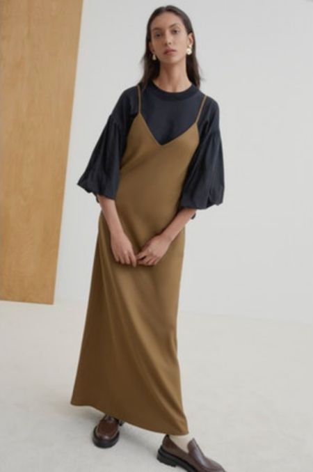 Kowtow Ada Long Slip Dress - Khaki