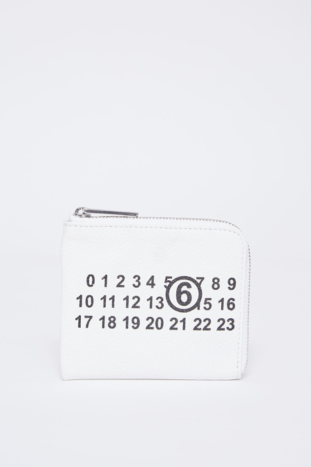 MM6 Maison Margiela Vegan Leather 1/2 zip logo wallet - White