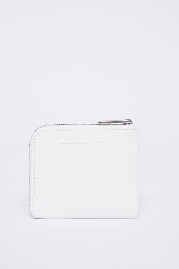 MM6 Maison Margiela Vegan Leather 1/2 zip logo wallet - White