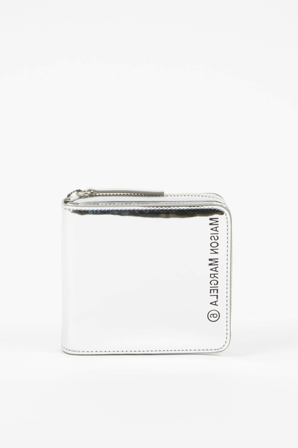 MM6 Maison Margiela Metallic Zip Logo Wallet - Silver