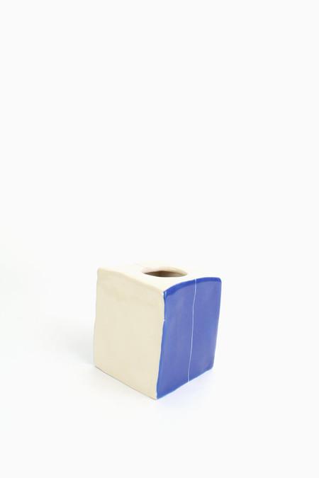 BTW Ceramics Short Square Vase - OFF WHITE/COBALT