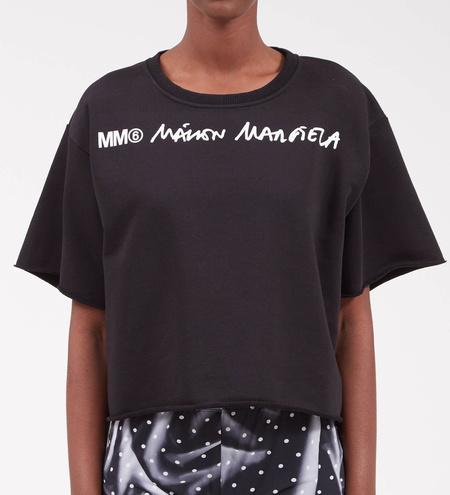 MM6 Maison Margiela Cropped Logo Sweatshirt - Black