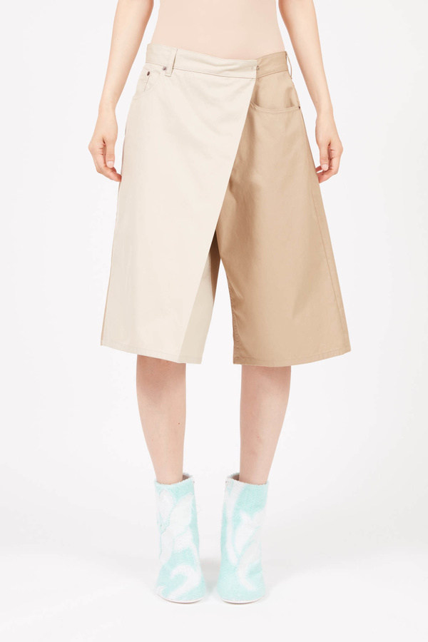 MM6 Maison Margiela Fold Over two tone shorts - beige