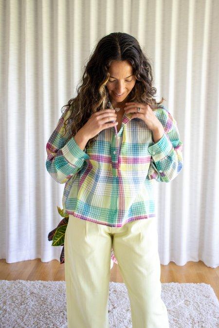 Mii Collection Handwoven Check Pattern Shirt - Green