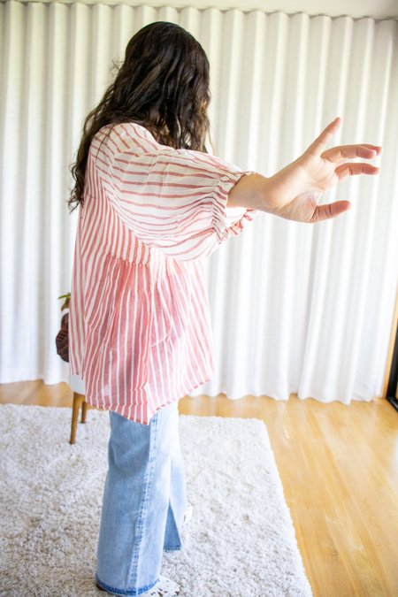 Mii Collection Handwoven Stripe Oversize Tunic - Red