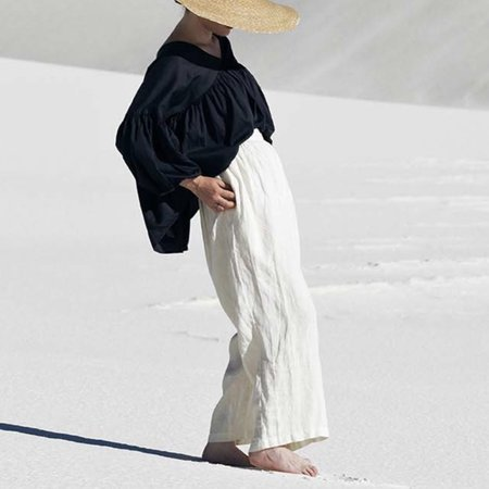 Black Crane Sack Pants - Cream