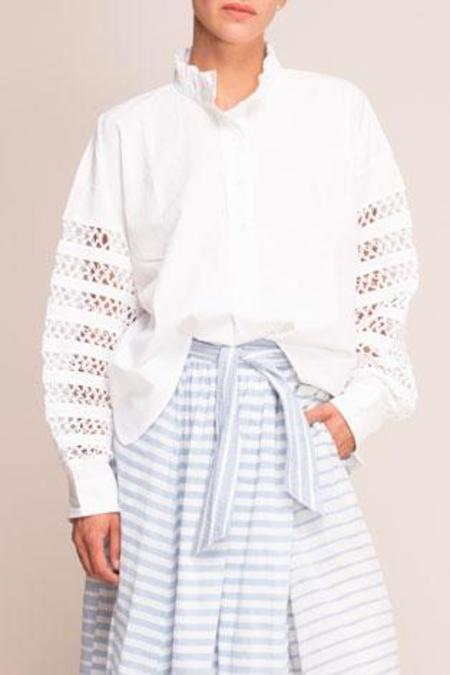 Mii Collection Shirt With Crochet Sleeve - White
