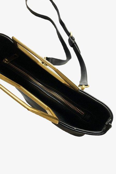 Street Level Faux Leather Hex Handle Bag - Black