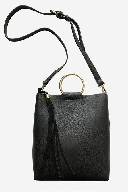 Street Level Faux Leather Ring Handle Mini Tote - Black