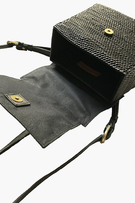 Street Level Mini Woven Rattan Backpack - Black