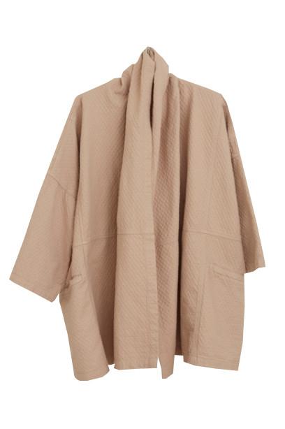 Atelier Delphine Antwerp Coat, Mauve Taupe, Bubble Textured Cotton