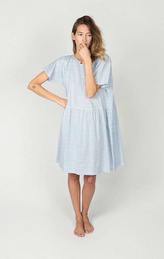 Ilana Kohn Brookes Dress, Blue Checkers, Cotton Lawn