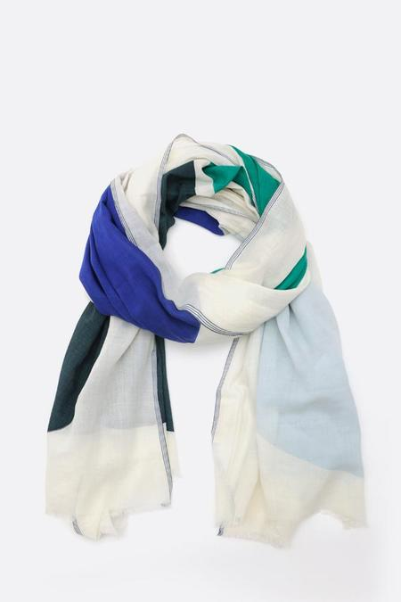 Moismont Blue and Green Oval Mix large Cotton Scarf