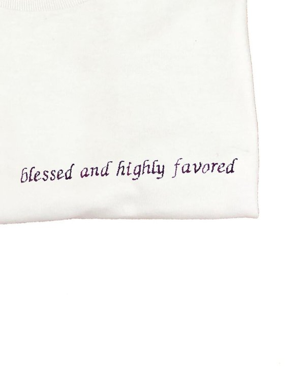 HOUSE OF 950 embroidery blessed and highly favored tee shirt