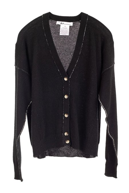 Paychi Guh V Neck Black Cardigan - black