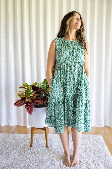 Caron Callahan Timora Dress - Micro Floral Green