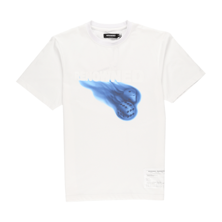 Renowned Flaming Dice T Shirt - white