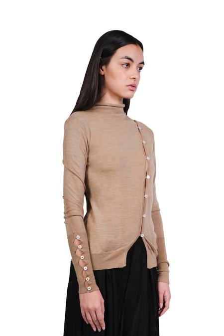 A Tentative Atelier Turtleneck Buttoned Sweater