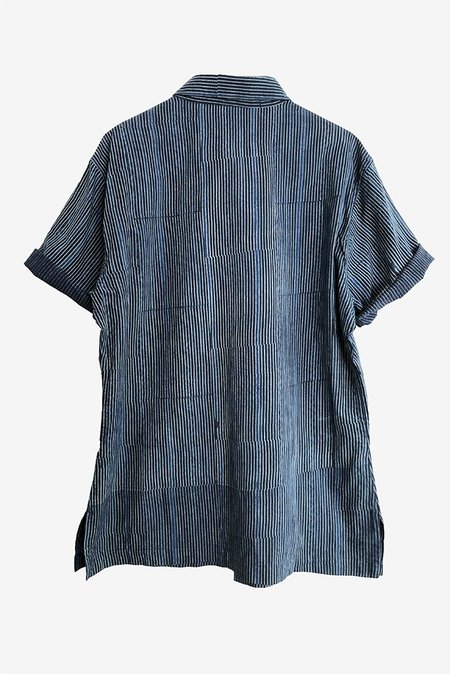 ONE WORLD BROTHERS Modern Fit Short Sleeve Shirt - Indigo Stripe