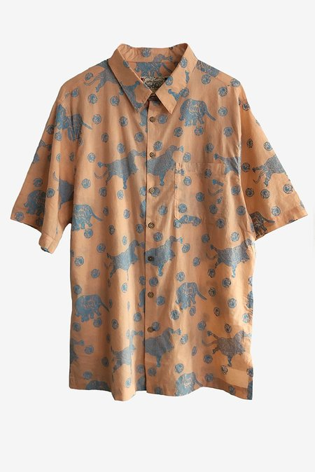 ONE WORLD BROTHERS Relaxed Fit Short Sleeve Shirt - Peach/Blue Tiger