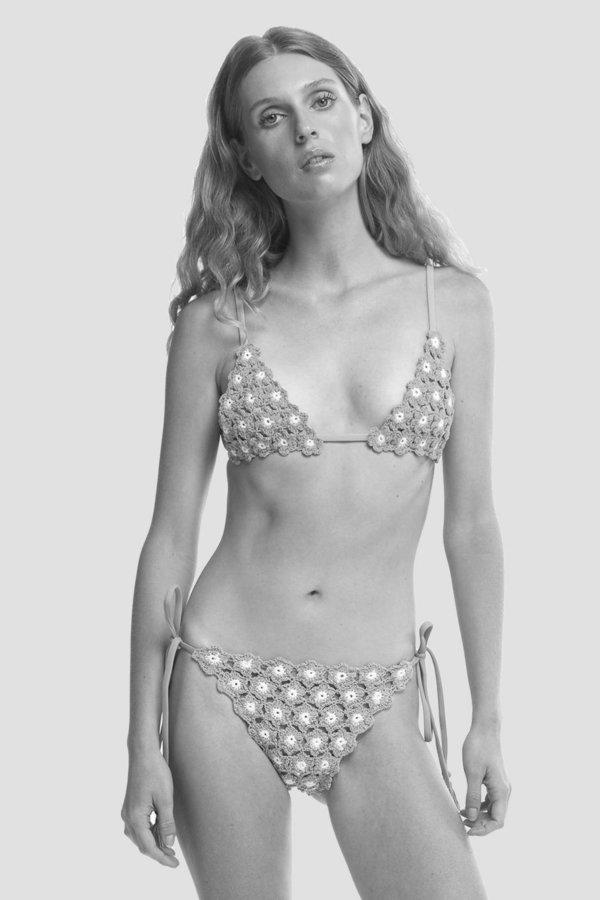SHE MADE ME Maalai Tie-Side Bikini Bottom - Marigold