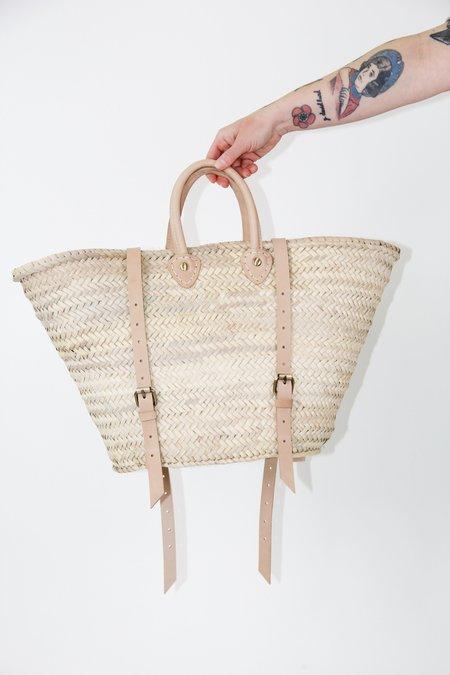 Socco Handwoven Straw Market Backpack - Natural