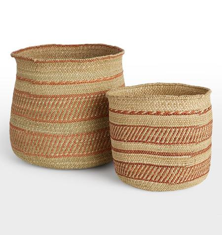 Swahili Modern HAND WOVEN RED RING GRASS BASKET - LARGE