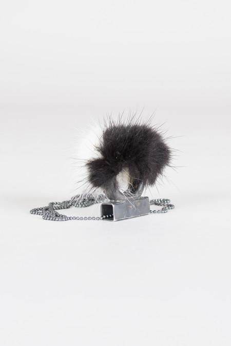 Feswa Black & White Mink Ring Pendant