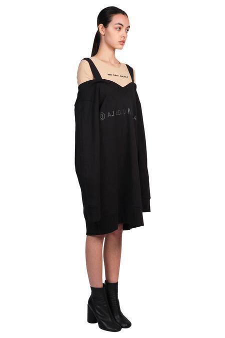 Maison Margiela MM6 Black Logo Sweatshirt Dress